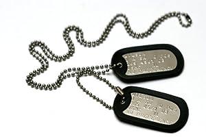 Militärischen Erkennungsmarken: 2 personalisierten Erkennungsmarken im Armeestil mit Kugelkette & Schalldämpfern