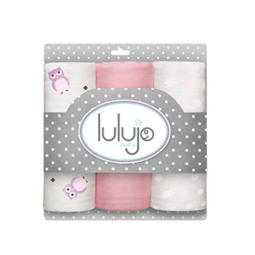 Lulujo Baby Muslin Cloths, Owl Always Love You/Pink, Mini, 3 Count