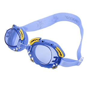 Adjustable Sky Blue Silicone Strap Plastic Lens Swimming Goggles Eyeglasses for Kids