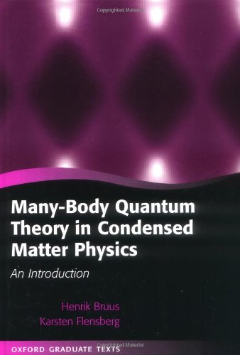 Many body quantum theory in condensed matter physics an introduction