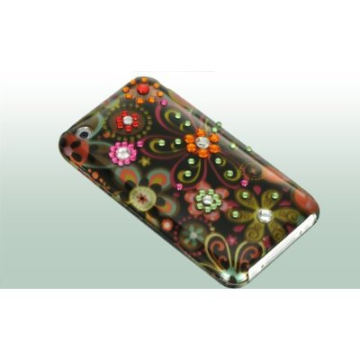 Spot Diamond Rhinestone Green Daisy Flower on Black Premium Design Snap-on Protector Hard Cover Case for Apple iPhone 3G, 3GS 3G-S