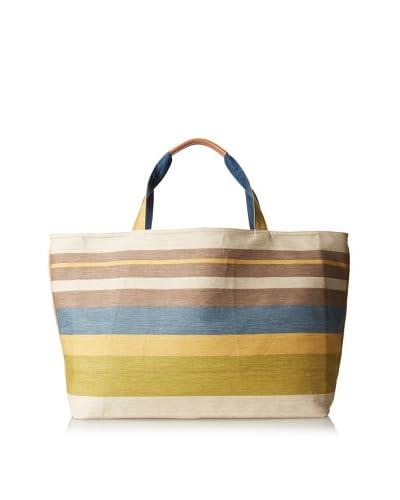 J. McLaughlin Women's Piper Flax Tote Bag, Indigo Blue/Multi Stripe