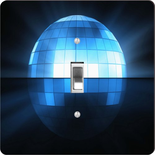 Rikki Knighttm Sky Blue Flashing Disco Ball - Single Toggle Light Switch Plate front-646005