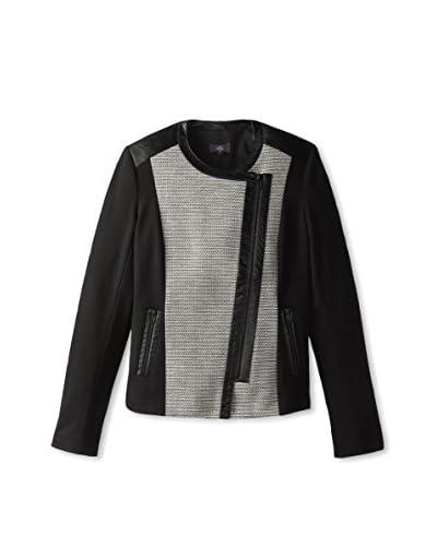 NYDJ Women's Faux Leather & Boucle Moto Jacket
