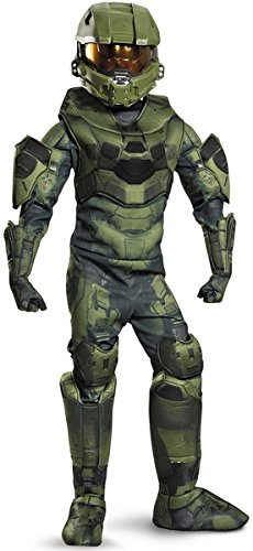Dressing Up & Costumes- Halo: Prestige Master Chief Costume For Kids, Size X-Large 14-16 - (Master Chief Gloves)
