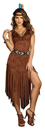 [GTH Women's Hot On The Trail Pocahontas Sacagawea Native American Costume, L (10-14)] (Pocahontas Costumes For Adults)