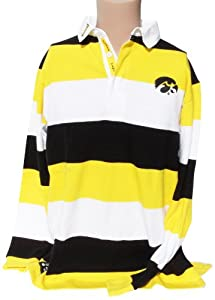 NCAA Iowa Hawkeyes Mens Striped Rugby Shirt, Black Yellow by Donegal Bay