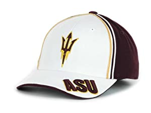 Buy Arizona State Sun Devils Maroon & White Hat Size Medium Large Flex Fit Fork Logo Cap NCAA - Best Fits 7 1 4 through... by Top of the World