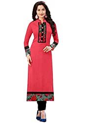 Isha Enterprise Women's Light Red Colour Semi Stitched Straight Kurti