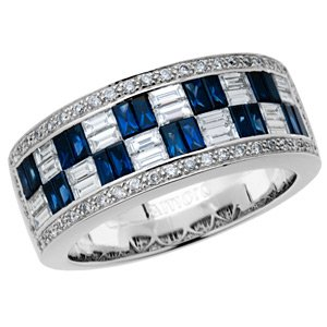 Sapphire and Diamond Stacking Rings in 18kt White Gold