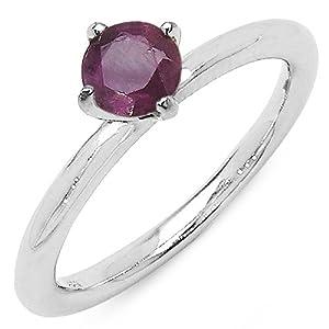 Silvancé - Women's Ring 925 Sterling Silver Genuine Ruby - R147R-18