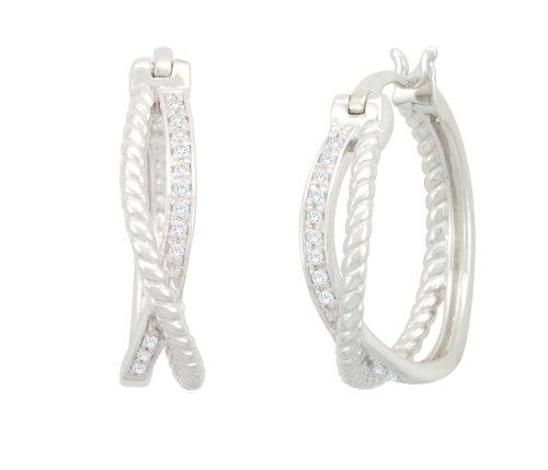 Silver Cross Diamond Earrings (1/10 cttw, I-J Color, I2-3 Clarity)