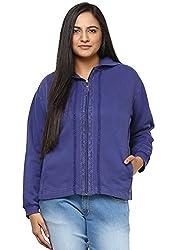 GRAIN Royal Blue Color Regular fit Cotton Jackets for Women