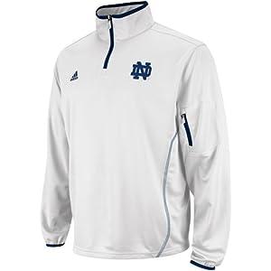 Notre Dame Fighting Irish Adidas White Sideline LS Quarter Zip Adult by Reebok