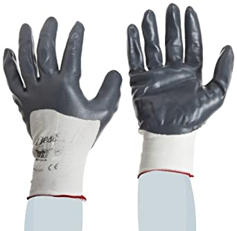 Showa Best 4575 Zorb-IT Deeper Palm-Dipped Extra Sponge Nitrile Glove, Seamless Nylon Liner, Color-Coded Cuff