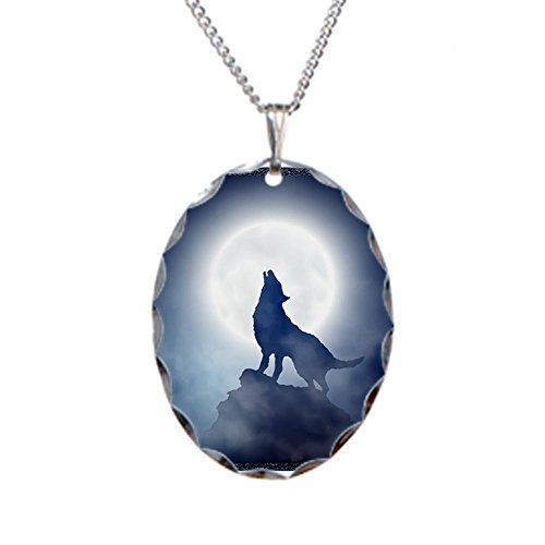 Howling Wolf in Misty Moonlight Charm Necklace