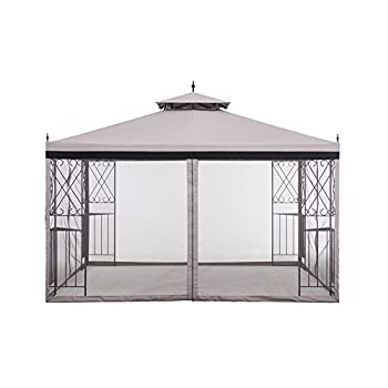sunjoy 10 x 12 Monterey Gazebo with Netting,Gray with Black