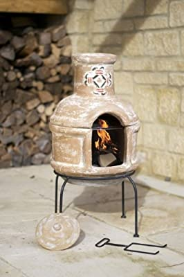 Clay Spanish Scroll Chiminea Chimenea With Bbq Grill Patio Heater Wood Burner