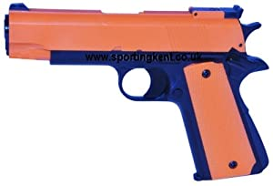 Airsoft Pistol Gas Powered Colt M1911 HG123 BB Gun. Orange & Black UK Legal from HFC