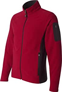 Colorblocked Full-Zip Microfleece Jacket, Color: Atomic/ Black, Size: Small