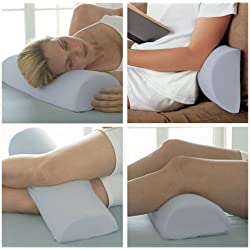 Half Moon / Half Cylinder Neck Roll Pillow Best Wedge Cervical, Lumbar Support, Back and Knee, Blue