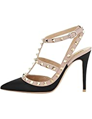 Guoar Women S Stiletto Heel Big Size Court Shoes Gladiator Studded Pointed Toe Ankle Strap Cut-out Pump
