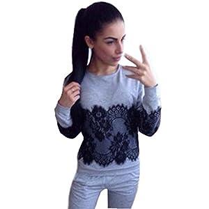 TAORE Women Loose Lace Splice Cotton Long Sleeve Sweatshirt Pullover Tops (L, Gray)