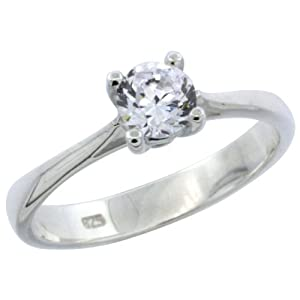 Sterling Silver 1/2 Carat Size Brilliant Cut CZ Solitaire Bridal Ring (Available in Sizes 6 to 10) size 6