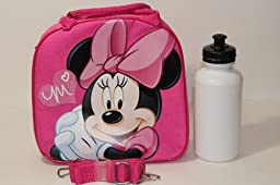 Disney Minnie Mouse Pink Great Quality Lunch Bag with Adjustable Shoulder Strap