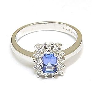 1.00 Carat Tanzanite & Diamond Ring Set in 18ct Gold Size L
