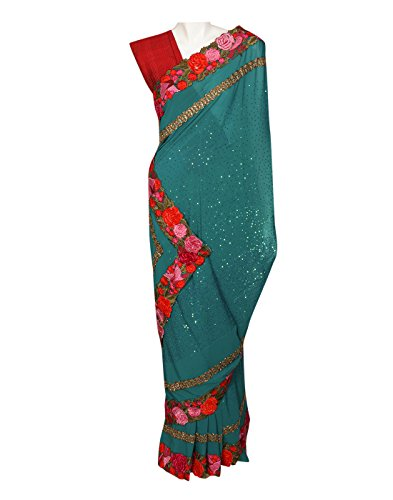 Red Kocktail-Green & Red Linen Kurta With Gotta Pathi Work (Multicolor)