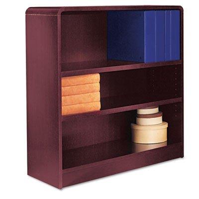 Radius Corner Wood Veneer Bookcase, 3-Shelf, 35 5/8w x 11-3/4d x 36h, Mahogany