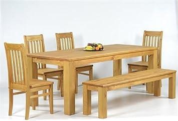 Sitzgruppe Garnitur mit Esstisch 140x90cm + 4 Stuhle Klassic + 1 Bank 140x38cm Pinie Massivholz, geölt und gewachst, Farbton Honig