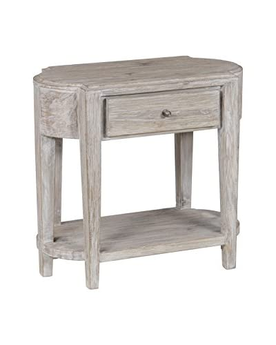 Tottenham Court Vivian 1-Drawer End Table, Antique White Wash