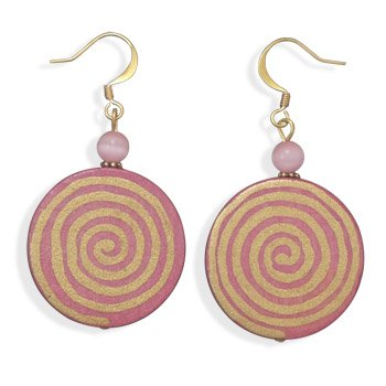Spiral Design Disk Pink Wood and Glass Cat's Eye Fashion Earrings Gold Plate - Made in the USA