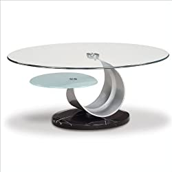 Global Furniture Clear/Frosted Glass/Black Occasional Coffee Table with Silver Marble