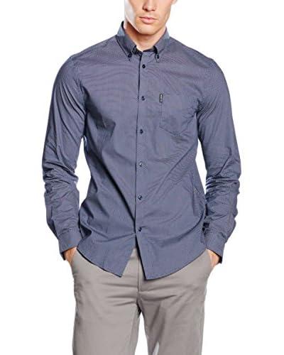 Ben Sherman Camisa Hombre Ls Micro Dot Print Azul Grisáceo