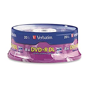 Verbatim DVD+R DL AZO 8.5 GB 8x-10x Branded Double Layer Recordable Disc, 20-Disc Spindle 95310