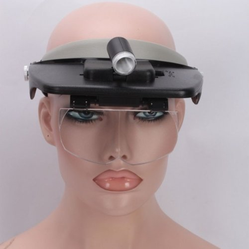 Usongs Magnifier Led 1.2X 1.8X 2.5X 3.5X Lens Reading Head Loupe Headband Glasses Style Hand Free Head Wearing Magnifying Glass Light Illumination