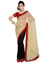 Deepika Saree Faux Georgette Beige And Black Saree With Blouse - B00M0F0IAA