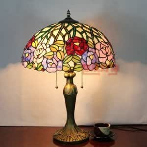 16 Inch Tiffany Style Rose Painting Finish Stained Glass Table Lamp (Bedside Lamp Desk Lamp)