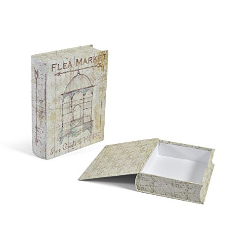 Elements Decorative Storage Book Box, Vintage Bird Cages, Set of 2