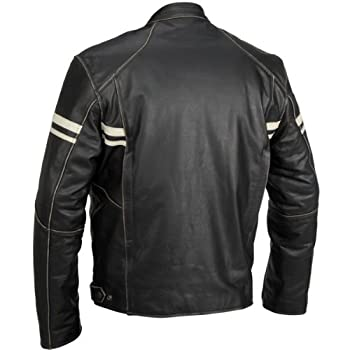 River Road Hoodlum Men's Vintage Leather Touring Motorcycle Jacket - Black / Size 42