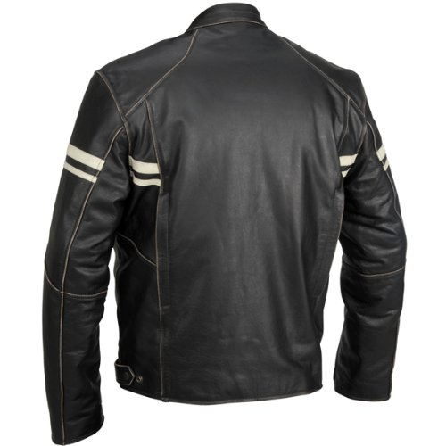 River Road Hoodlum Men's Vintage Leather Touring Motorcycle Jacket - Black / Size 42 1