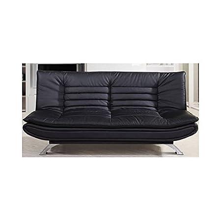Sofá camá negro polipilel acolchado