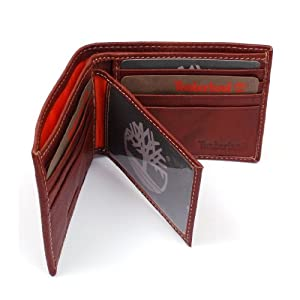 Mens Timberland Leather Wallet Center Flip Credit Card Passcase Bifold Goat Skin by Husaka