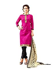 PS Enterprise Pink Chanderi Cotton Printed Unstitched Dress Material With Dupatta - ANY7006