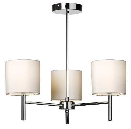 Chrome Ceiling Light with Cream Faux Silk Shades - HP020529
