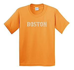 LA Pop Art - Boys T-shirt - Neighborhoods of Boston Word Art - Texas Orange - X-Large