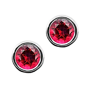 Carlo Bianca Blazing Red 14K White Gold Earrings Made With Swarovski Topaz